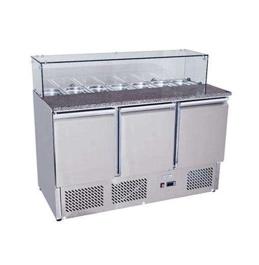 Atosa 3 Door Marble Saladette Glass Top ESL3864GR with GN Pans