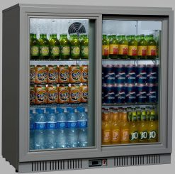 Sterling Pro SP2BC-SS Silver Double Sliding Door Bottle Cooler