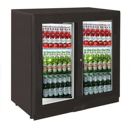 Sterling Pro SP2BC-BS Black Double Sliding Door Bottle Cooler
