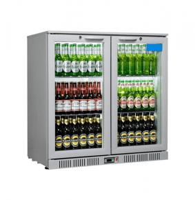Sterling Pro SP2BC-SH Silver Double Hinged Door Bottle Cooler