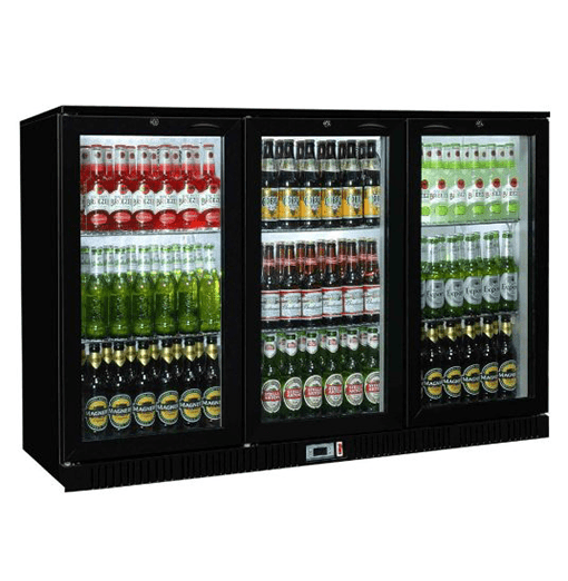 Sterling Pro SP3BC-BH Black Triple Hinged Door Bottle Cooler