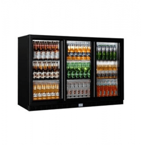 Sterling Pro SP3BC-BS Black Triple Sliding Door Bottle Cooler