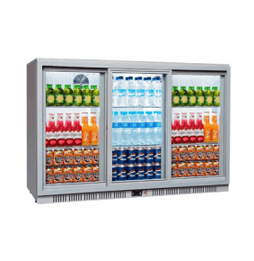 Sterling Pro SP3BC-SS Silver Triple Sliding Door Bottle Cooler